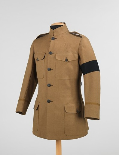 1918 New York State National Guard jacket, made in England, with mourning band. http://www.metmuseum.org/collection/the-collection-online/search/159419?rpp=30&pg=1&ft=military+jacket+Henry+Poole+%26+Co&pos=1