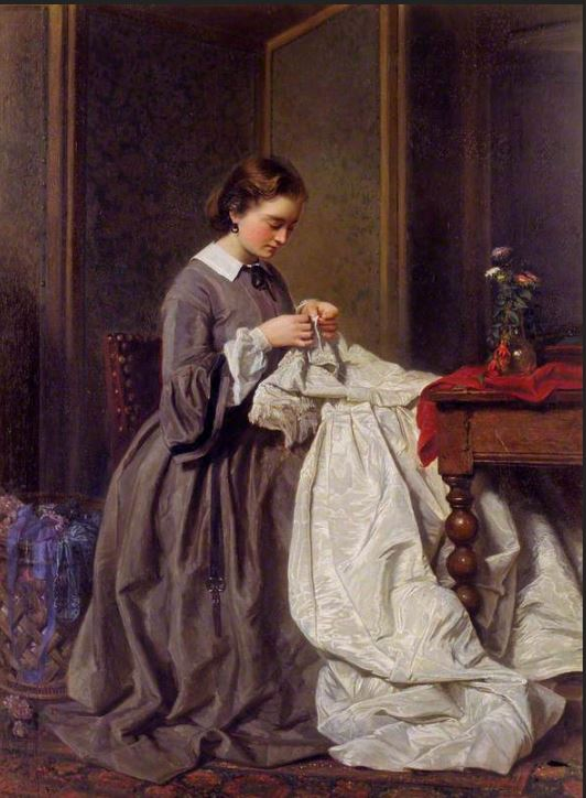 The Seamstress, Charles Baugniet, 1858. http://collections.vam.ac.uk/item/O134108/the-seamstress-oil-painting-baugniet-charles/