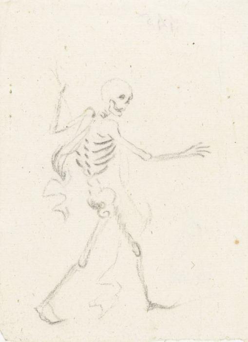 jolly walking skeleton with dart