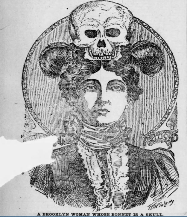 a brooklyn woman whose bonnet is a skull