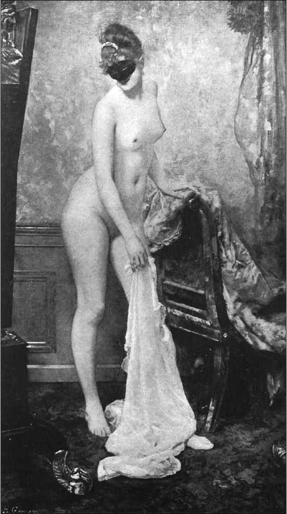 Henri Gervex Le modèle masqué nude model masked